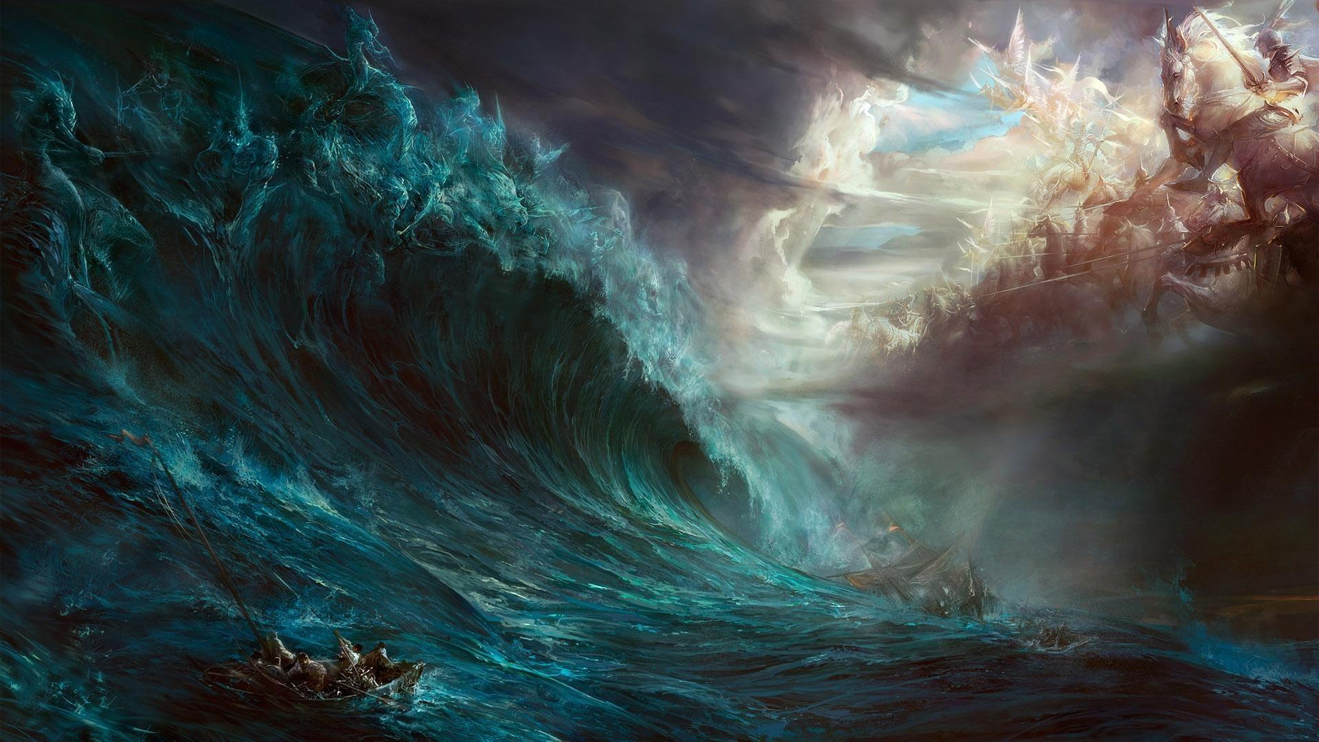 Łódź na wzburzonym morzu